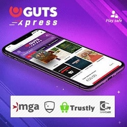 Guts Xpress (no account casino) - pay and play with Bank ID via Trustly