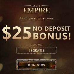 Slots Empire Casino $25 free chip bonus (Real Time Gaming, USA)