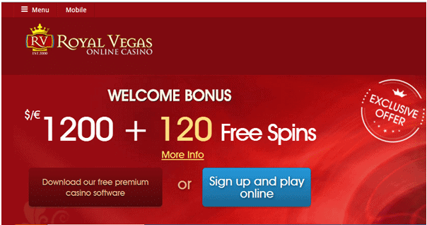 Royal Vegas - register and login to play free spins!