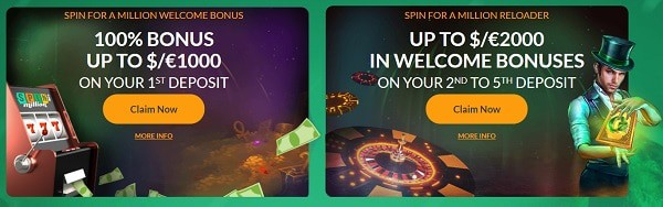 100% bonus up to $1000 or 100% up to $500 and 100 free spins welcome offer