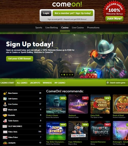 ComeOn Casino Review   €5 no deposit bonus and €300 WB free spins