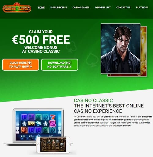 Casino Classic Review: 150 Mega Moolah free spins + €500 free bonus