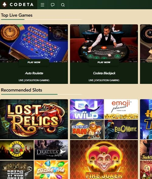 Codeta Casino Review: €300 free bonus on live dealer and jackpot slots