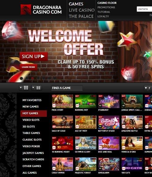 Dragonara Casino Review - 150% welcome bonus and 50 free spins