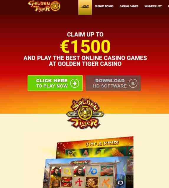 Golden Tiger Casino Review: 150 free spins + €1500 welcome bonus