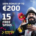 Energy Casino 15 free spins no deposit bonus plus 400 EUR welcome bonus and 55 gratis spins