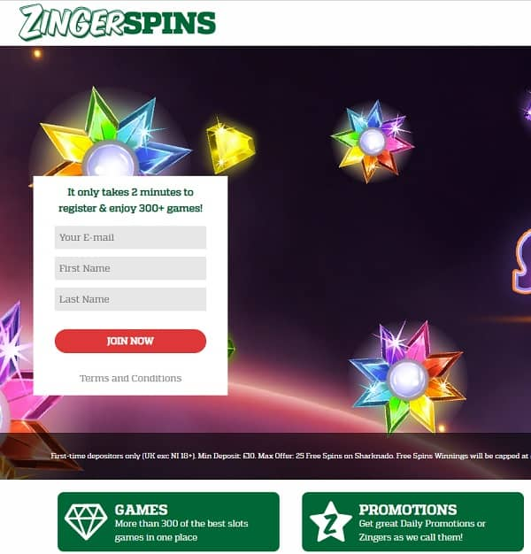 Zinger Spins Casino Review: Get 25 free spins no wager bonus!