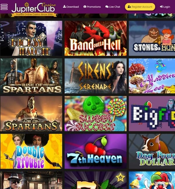 Jupiter Club Casino Review - 50 free spins and $2000 bonus code