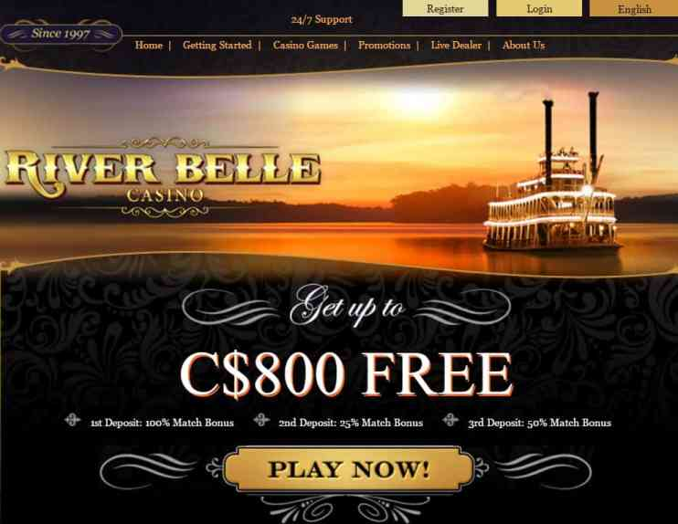 River Belle Casino $800 free bonus - review