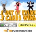 Prime Scratch Cards | 120 free spins and €200 casino bonus | review