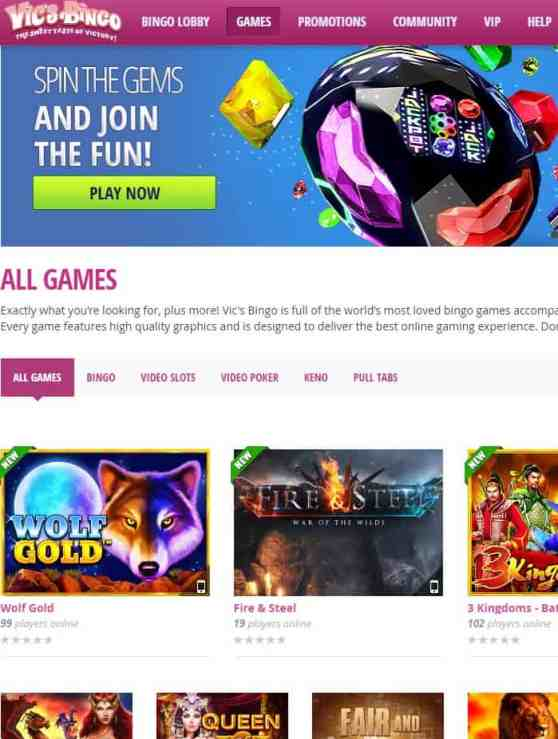 Vic's Bingo Casino Review: 75 free spins and 800% free bonus