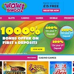 Wow Bingo Casino £15 no deposit required   1000% free bonus