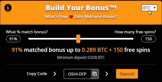 Oshi Casino welcome bonus