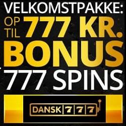 Dansk777.dk Casino - 777 kr gratis bonus plus 777 free spins