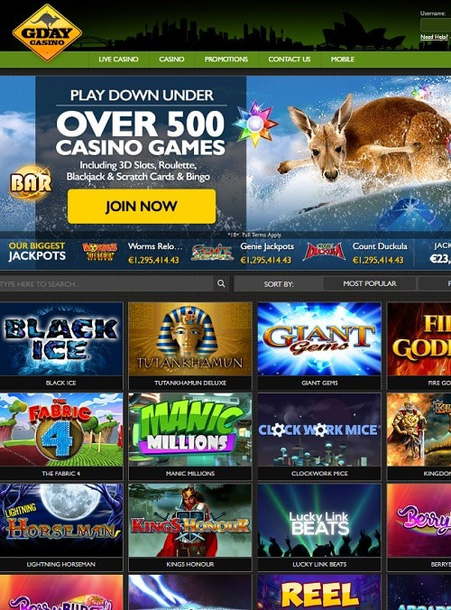 Gday Casino Online 50 free spins and 500 EUR welcome bonus