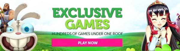 Exclusive Games: slots, table games, jackpots, live dealer