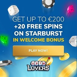 Spin Lovers Casino 20 free spins and 100% welcome bonus