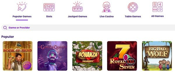 Slots, Mobile Games, Live Dealer, Jackpots