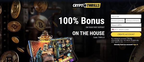 100% bonus on crypto deposit