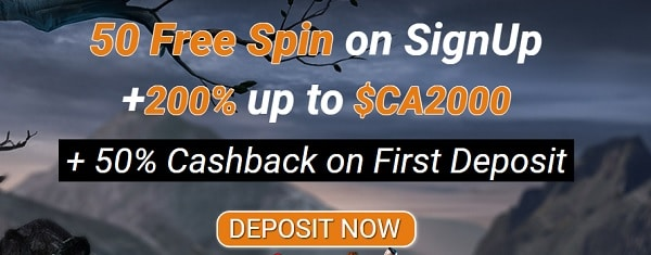 50 free spins and 200% welcome bonus