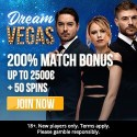 Dream Vegas Casino 50 free spins and €2500 welcome bonus