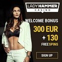 Lady Hammer Casino 130 free spins and €300 welcome bonus
