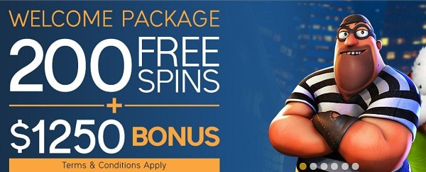 200 free spins and $1250 bonus for new players