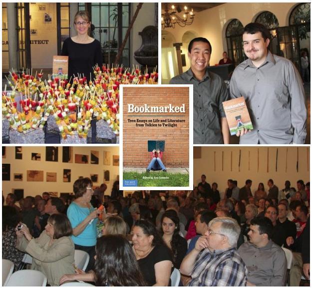 BOOKMARKED Launch, Camacho, Two Students Authors, Crowd © Free Spirit Publishing