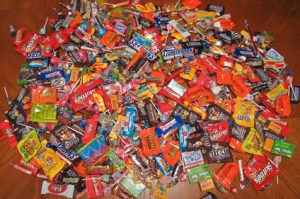 Neighbor kid's candy pile