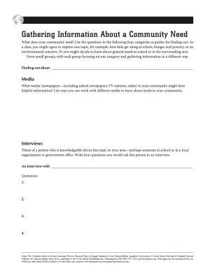 Gathering Information About a Community Need