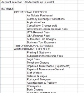 travel agent balance sheet