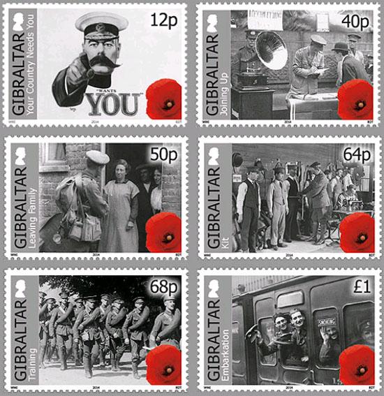 Gibraltar stamps Centenary of World War I