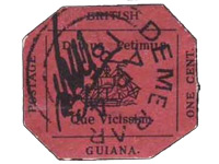 One-Cent Magenta stamp, printed in Georgetown