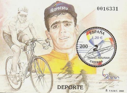 Miguel Indurain on stamp Spain