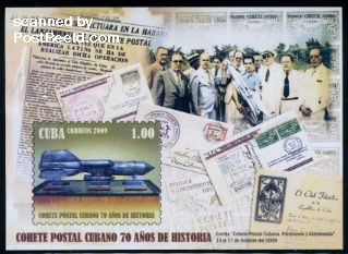 Cuba 2009, Rocket Post 70 years commemorative stamps
