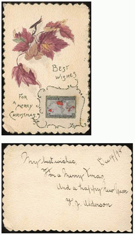 Cards with the first Christmas stamp
