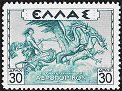 Triptolemus, purported to have ridden his Chariot across Greece to educate the people in the art of agriculture on stamp