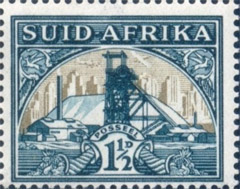South Africa 1936. 1½d green and bright gold