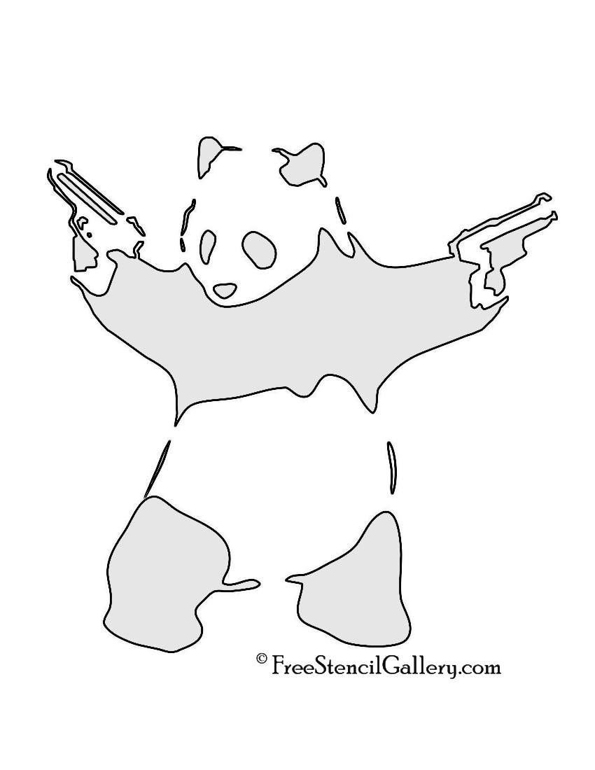 Banksy-Panda with Guns Carving Pattern