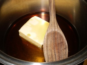 maple syrup and butter in pan