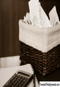 saving receipts in small basket