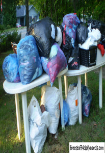 bags of clothes donations