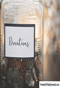 donation jar with coins