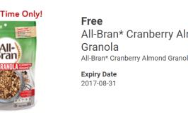 FREE All Bran Cranberry Almond Granola Cereal!