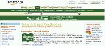 Amazon.ca Save $15 off $150 on New Textbooks - Exp Oct 1, 07?, Canada