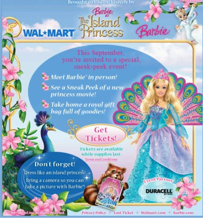 Barbie as The Island Princess Free Tickets to Meet Barbie in Person - Select US Locations
