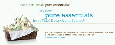 Pure Essentials from Tide, Downy and Bounce Free Sample - US