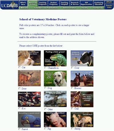 UC Davis School of Veterinary Medicine Free Posters - Mail Offer, US