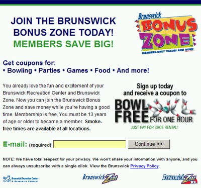 Brunswick Bonus Zone Free Coupon to Bowl Free for One Hour - Canada and US