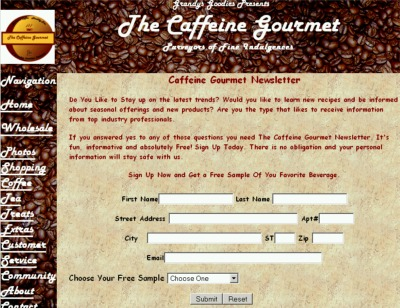 The Caffeine Gourmet Newsletter Free Beverage - US